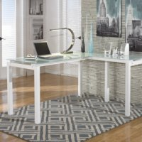 L shape white metal desk with tempered glass top